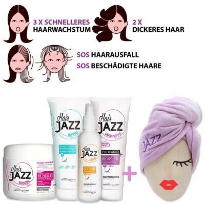 HAIR JAZZ Haarwachstum-Set: Shampoo, Spülung, Maske, Lotion und Haarturban